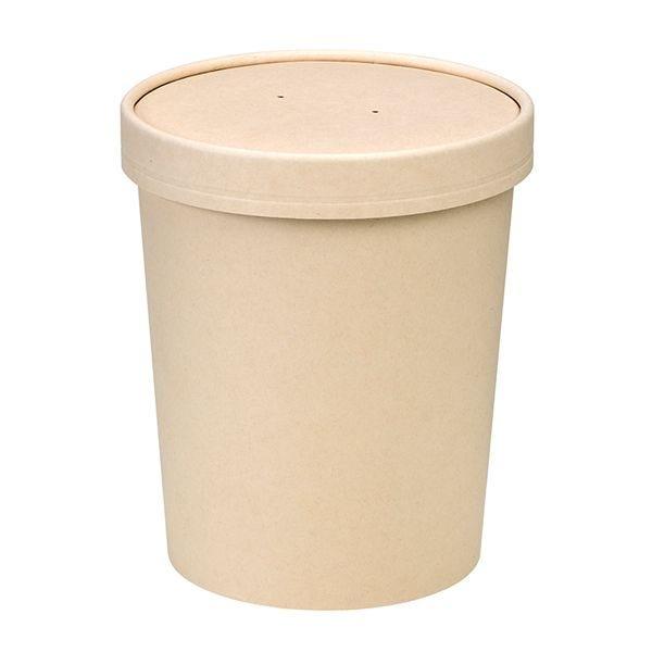 Pot carton fibre bambou avec couvercles 32oz - par 250