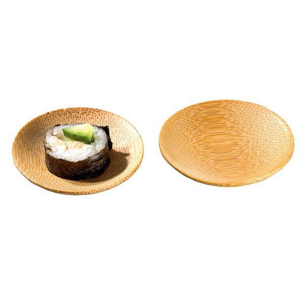 Assiette en bambou ping diamètre 6 cm - par 24 (photo)