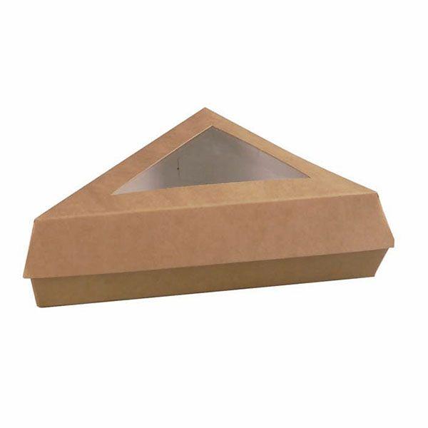 Boîte pâtissière triangulaire brune 17 x 17 x 13 cm - par 50 (photo)