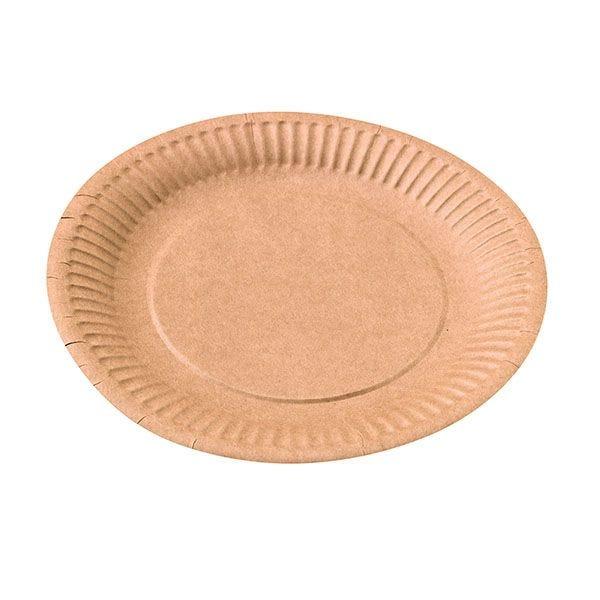 Assiette ronde carton kraft diam 180 mm - par 50 (photo)