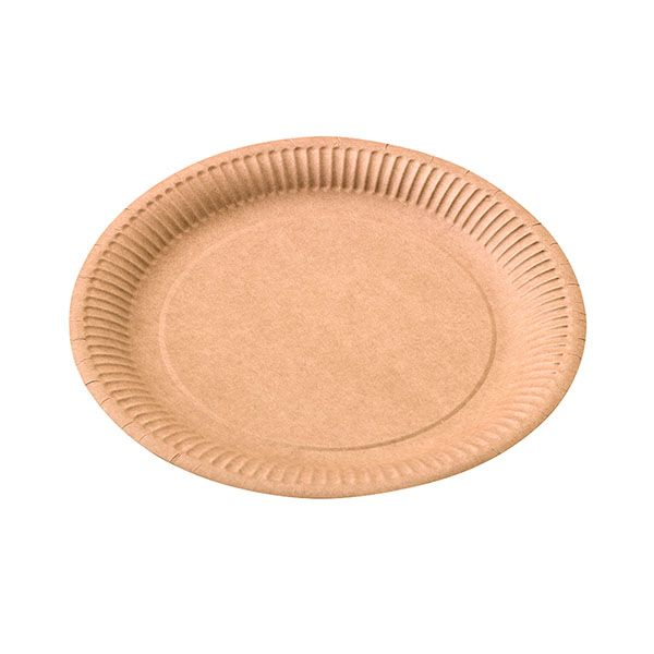 Assiette ronde carton kraft diam 230 mm - par 50 (photo)