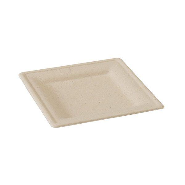 Assiette pulpe brune carrée 20 x 20 cm - par 500 (photo)