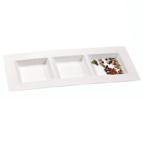 Assiette en pulpe 3 alvéoles carrées 26 x 11 cm - par 50 (photo)