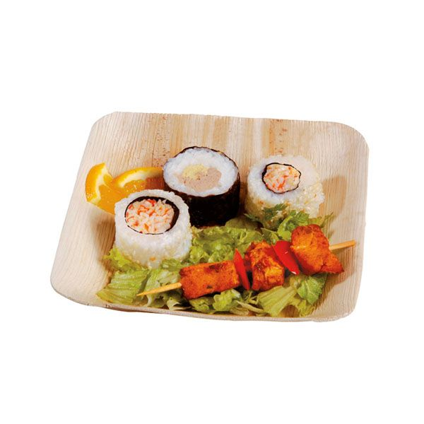 Assiette en palmier carrée 17 x 17 cm - par 25 (photo)