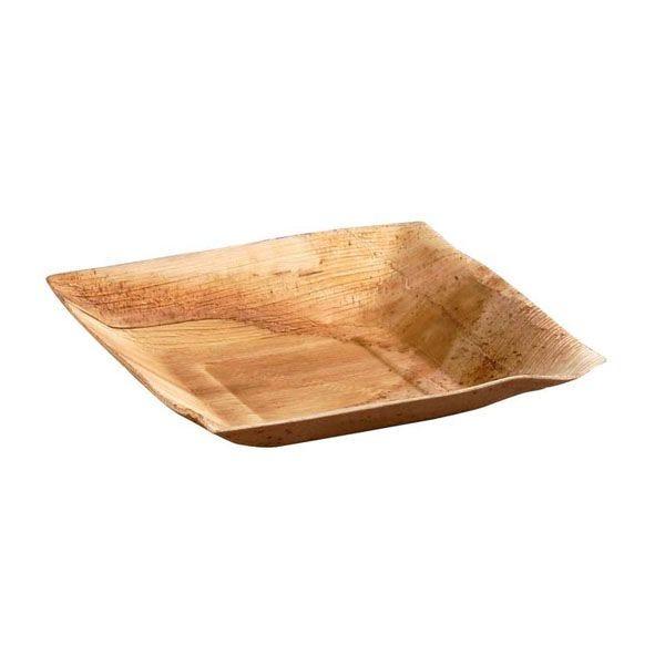 Assiette carrée en palmier 18 cm - par 6 (photo)