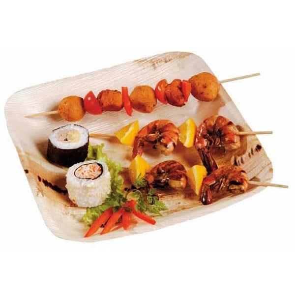 Assiette en palmier carrée 24 x 24 cm - par 25 (photo)