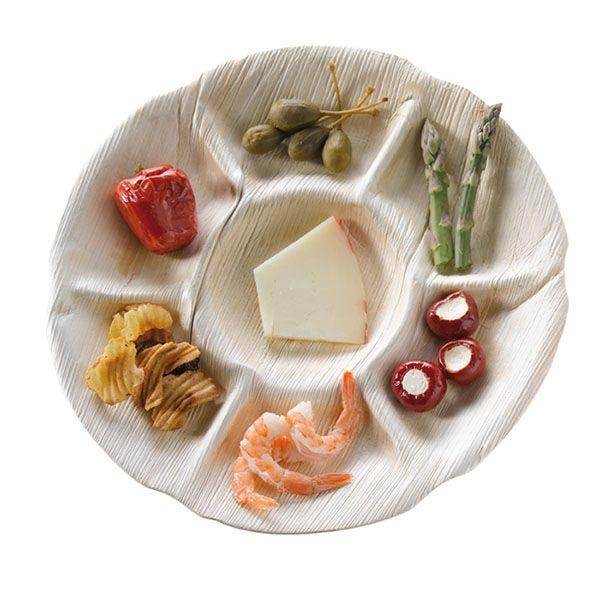 Assiette en palmier rond 7 compartiments - par 10 (photo)
