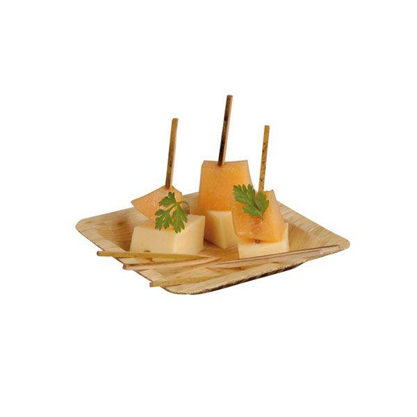 Assiette carrée en bambou 12 cm - par 10 (photo)