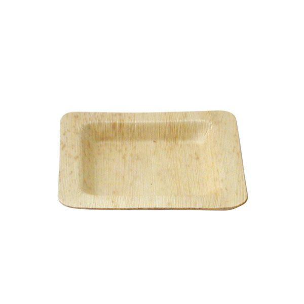 Assiette carrée en bambou 15 cm - par 10 (photo)