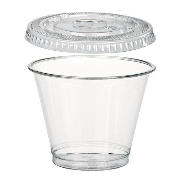 Combo gobelet plastique et couvercle 9 oz 270 ml - par 25 (photo)