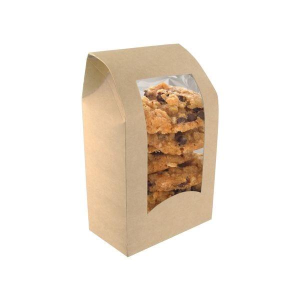 Boîte à wraps rectangle en carton kraft brun  - par 600 (photo)