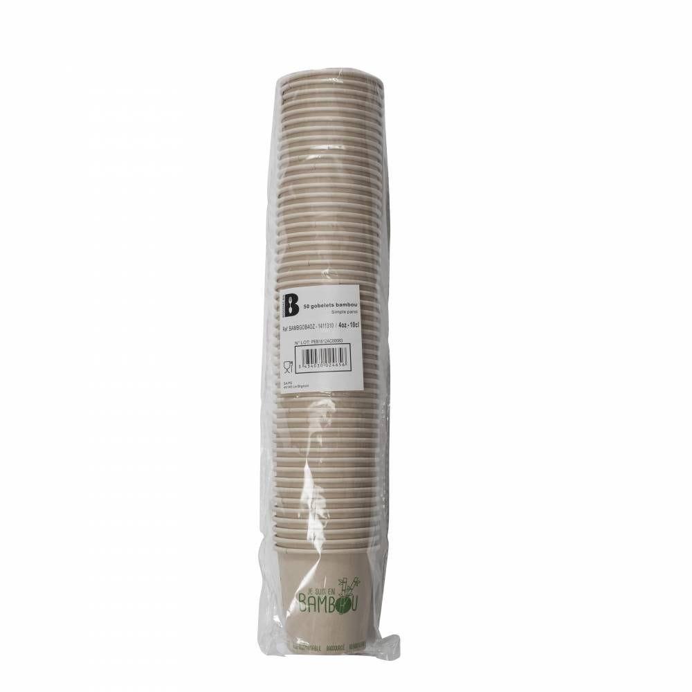 Gobelet 4oz bambou - 'Je suis en Bambou'-  20 lots de 50