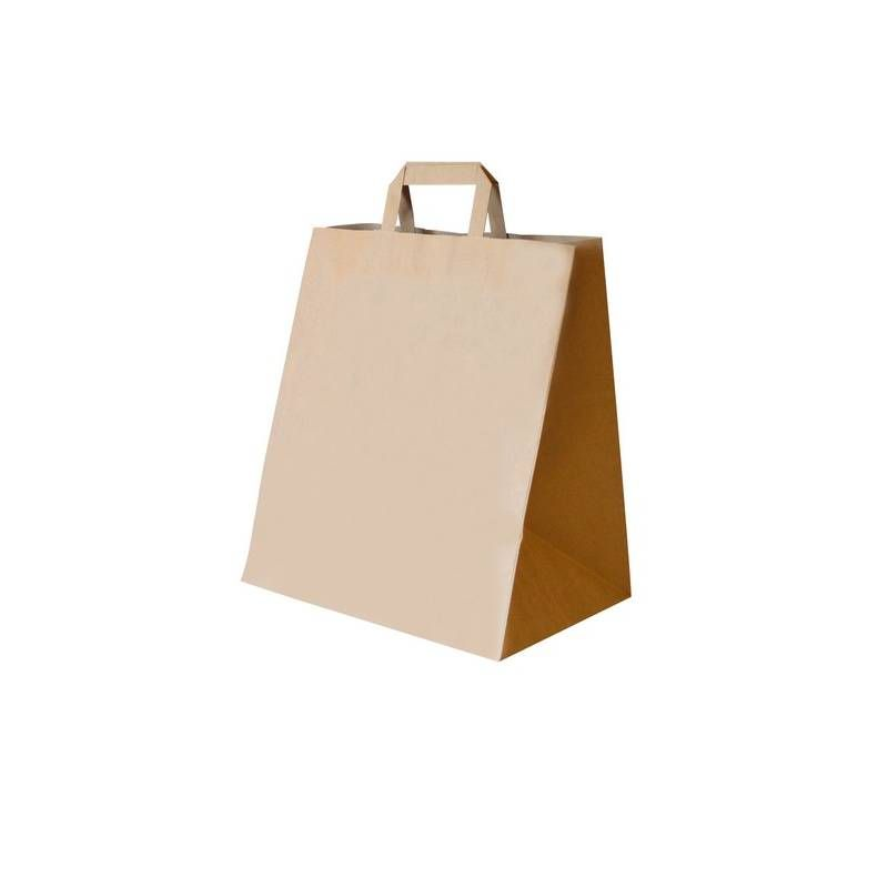 Sac cabas kraft brun 32+22x36cm - par 250 (photo)