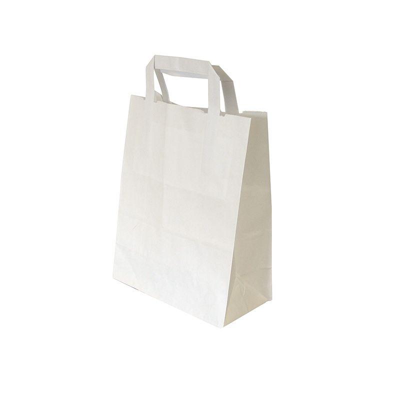 Sac cabas kraft blanc avec poignées plates 20+10x25cm par 250 pièces (photo)