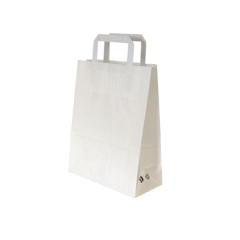 Sac cabas kraft blanc avec poignées plates - par 250 pièces (photo)