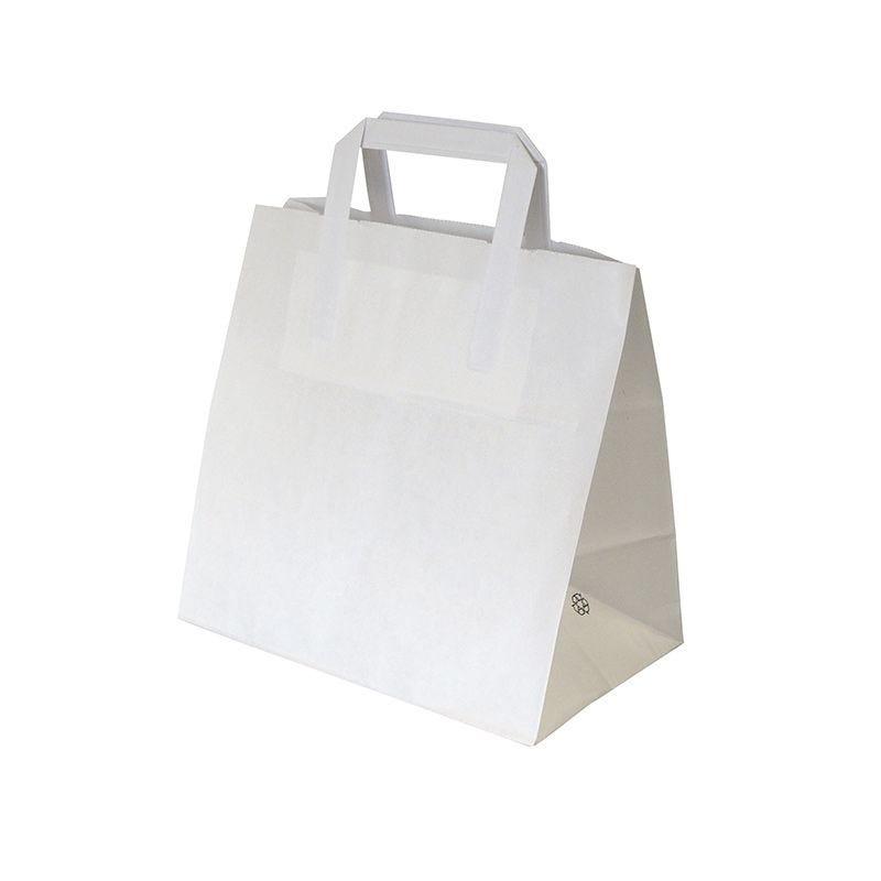 Sac cabas kraft blanc avec poignées plates 26+17x25cm par 250 pièces (photo)