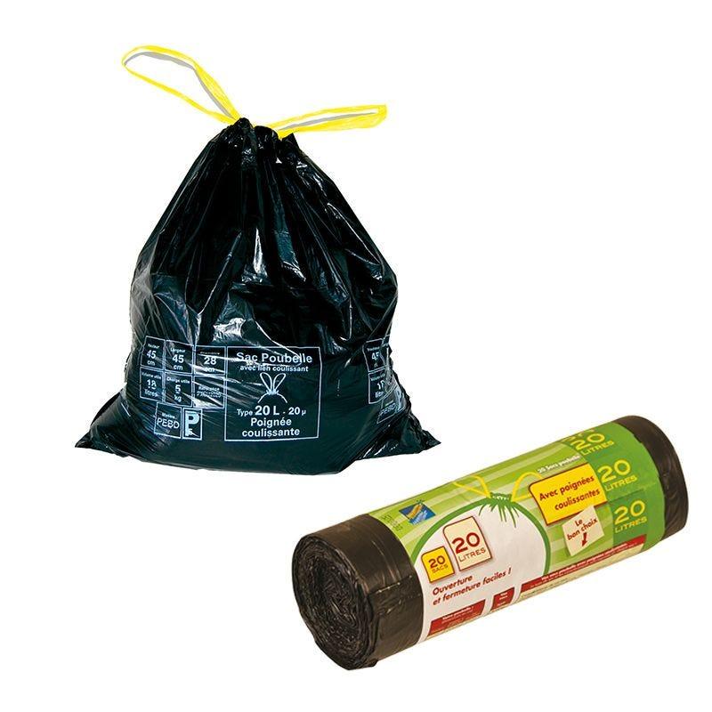 Sac poubelle noir pemd - 20 l - par 28 rouleaux 20 pièces