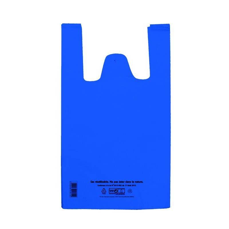 Sac bretelle bleu pebd réutilisables- 30 + 14 x 54 cm - 50 µ - 5 paquets 100 p. (photo)