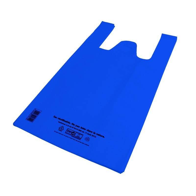 Sac bretelle bleu pebd réutilisables- 30 + 20 x 58 cm - 50 µ - 5 paquets 100 p. (photo)