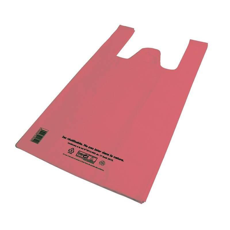Sac bretelle rose pebd réutilisables- 26 + 12 x 45 cm - 50 µ - 10 paquets 100 p. (photo)