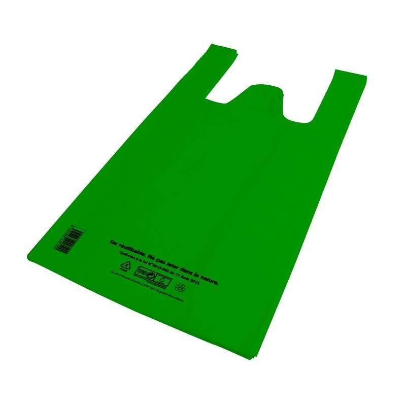 Sac bretelle vert pebd réutilisables- 27 + 14 x 48 cm - 50 µ - 5 paquets 100 p. (photo)