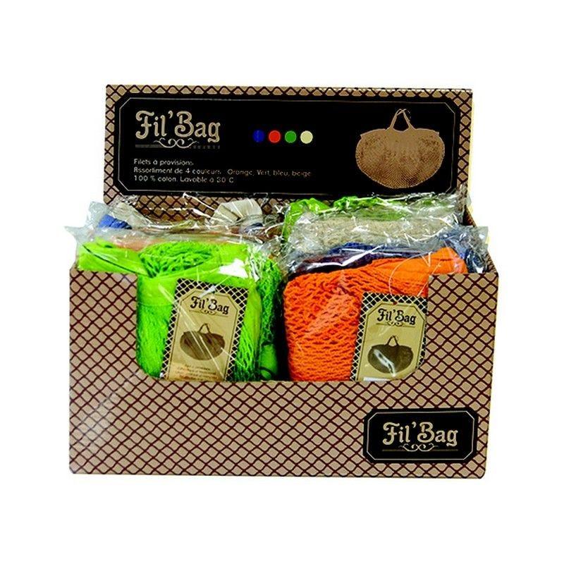 Filet coton à provisions fil bag 40x29 cm - 24 filets de 4 coloris différents