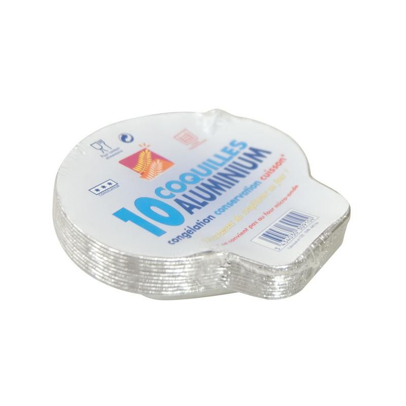Plat aluminium 10 coquilles st jacques - 12 paquets de 10 pièces (photo)