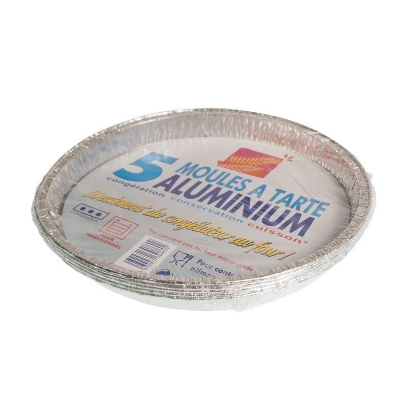 Plat aluminium 5 tourtières - 12 paquets de 5 pièces (photo)