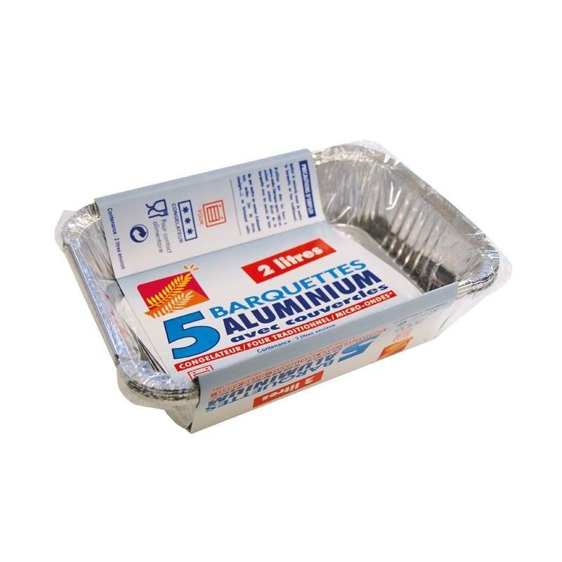 Barquette aluminium 2 l - 12 paquets de 5 pièces (photo)