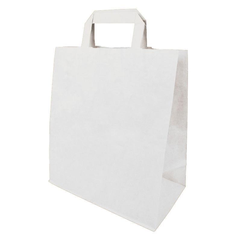 Sac cabas kraft blanc avec poignées plates - 5 paquets de 50 pièces (photo)