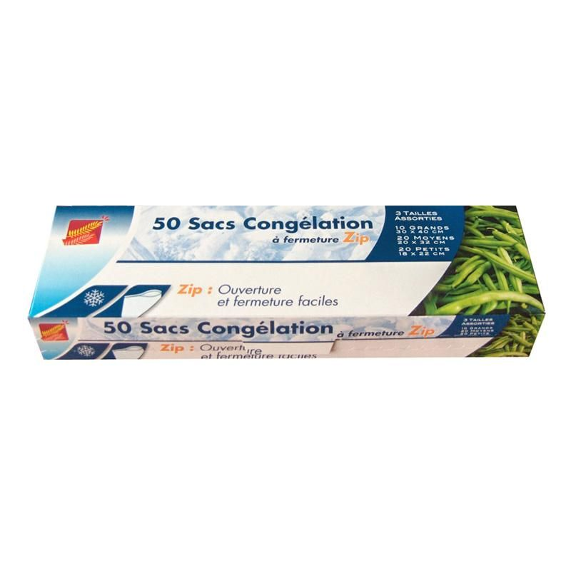 Sac congélation fermeture zip - 3 formats assortis - 14 paquets de 50 sacs (photo)
