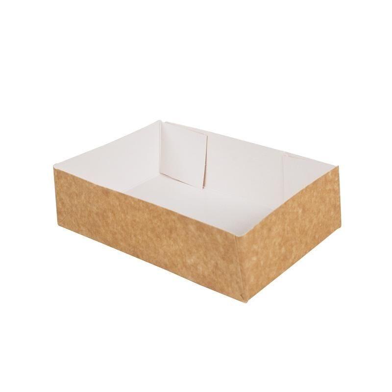 Caissette pâtissière carton compact - 200 x 130 x 50 mm - par 200 pièces (photo)