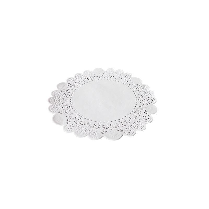 Dentelle blanche ronde - ø 10 cm - 8 paquets de 250 pièces (photo)