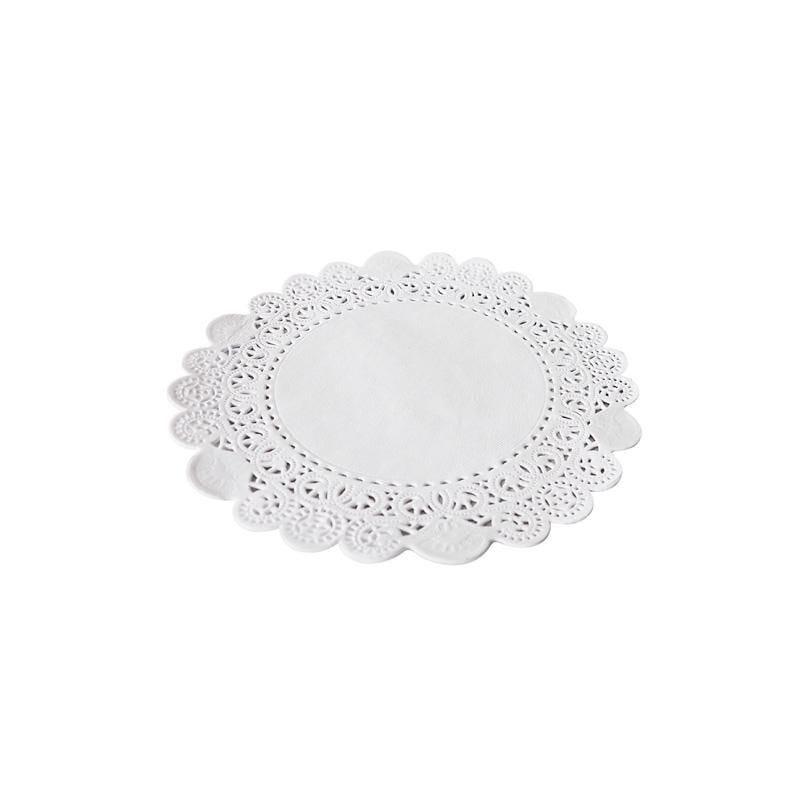 Dentelle blanche ronde - ø 15 cm - 8 paquets de 250 pièces (photo)