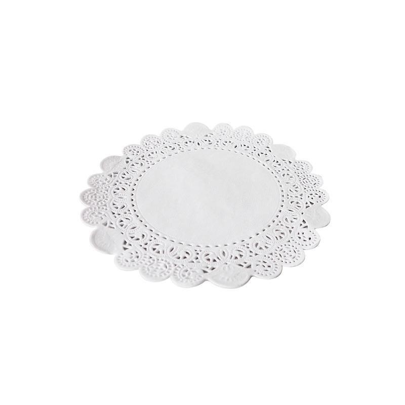 Dentelle blanche ronde - ø 19 cm - 8 paquets de 250 pièces (photo)