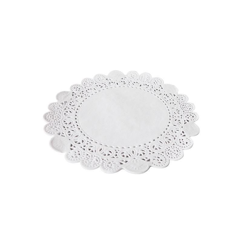 Dentelle blanche ronde - ø 21 cm - 8 paquets de 250 pièces (photo)