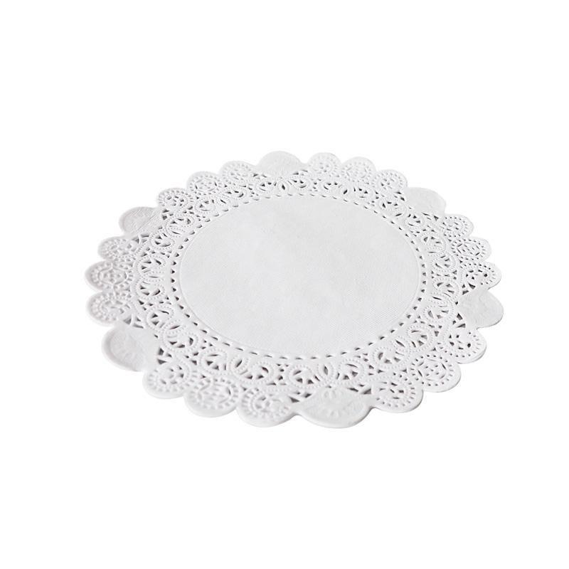 Dentelle blanche ronde - ø 27 cm - 8 paquets de 250 pièces (photo)