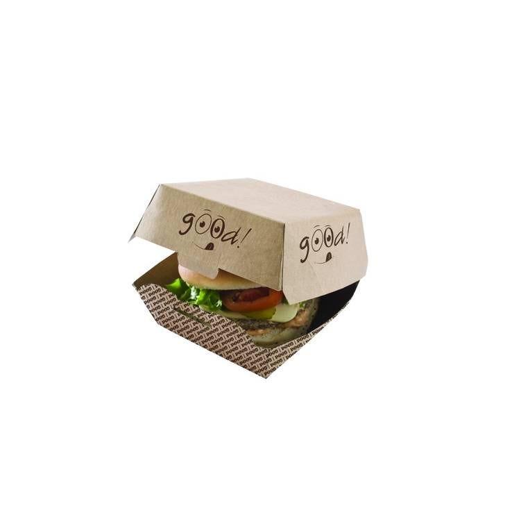 Boite burger kraft brun good- 220 x 110 x 80 mm - 4 paquets de 100 pièces (photo)