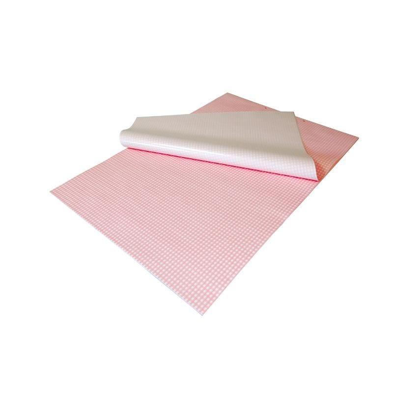 Feuille papier kraft vichy rose liassée - 32 x 50 cm - par 1500 feuilles (photo)