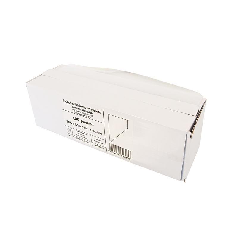 Poche pâtissière trapèze pebd - 265 x 530 mm - par 10 rouleaux boîte de 100 p. (photo)