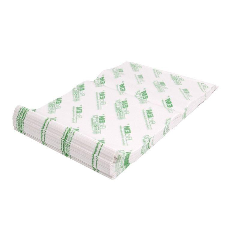 Feuille de papier blanc kraft cire végétale 33 x 33 cm - par 10 kgs