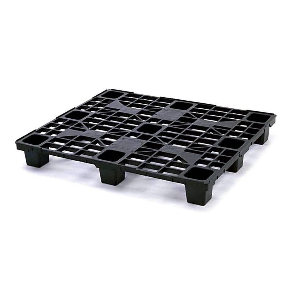 Palette plastique noire dim. 400 x 600 x 150 mm - 4 plots emboîtables - par 25 (photo)