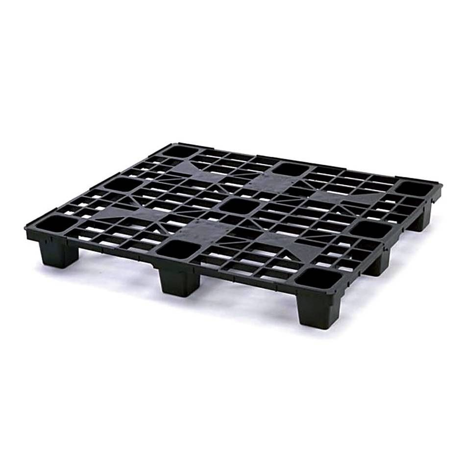 Palette plastique lourde noire dimensions 1000 x 1200 mm - 9 plots (photo)