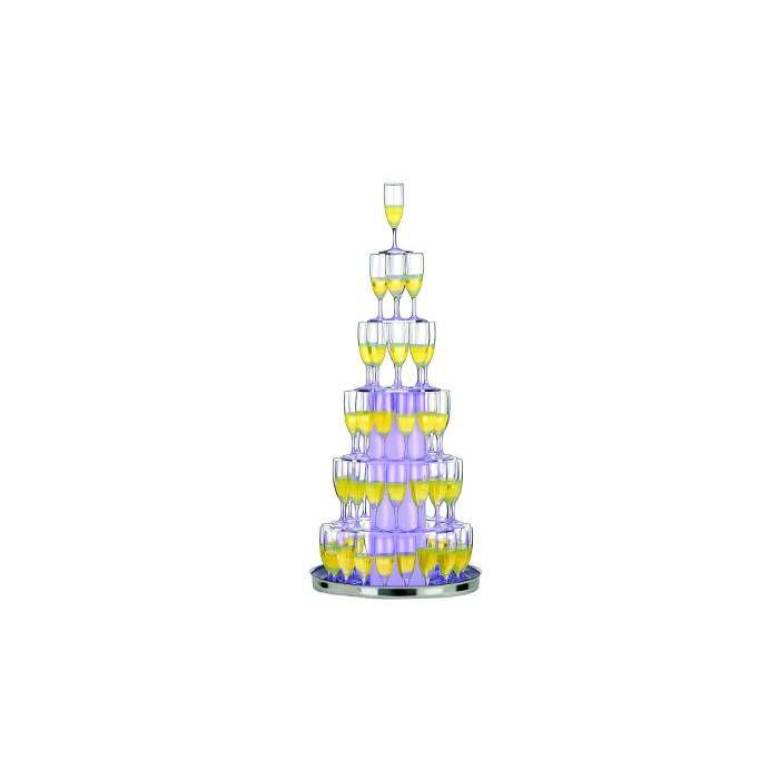 Cascade à champagne illuminée pour 73 flûtes avec sa caisse en bois