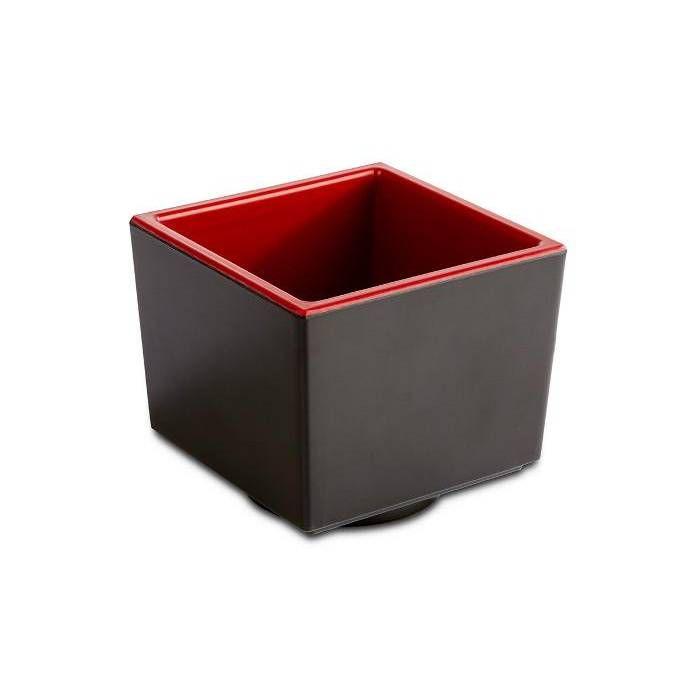 Bol/saladier mélamine noir et rouge carré 7,5 x h6.5 cm (photo)