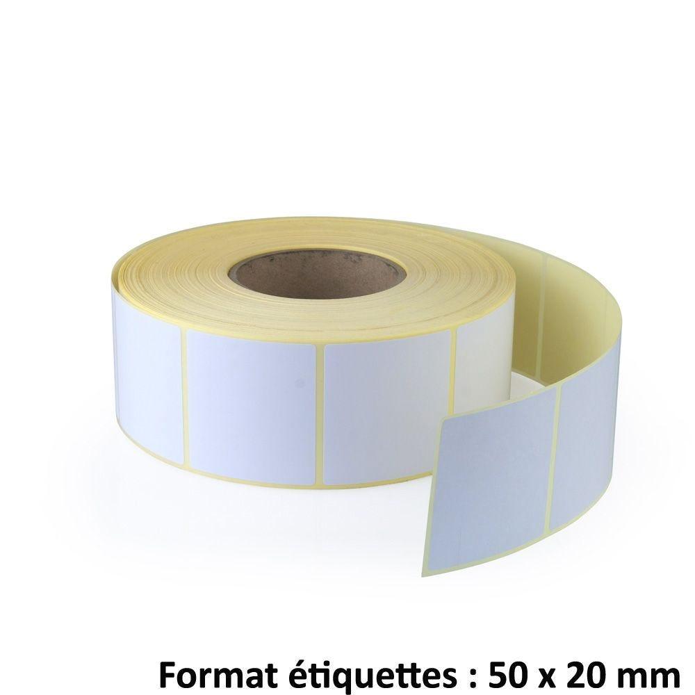 Rouleau de 3 000 étiquettes format 50x20mm - par 5 soit 15 000 étiquettes (photo)