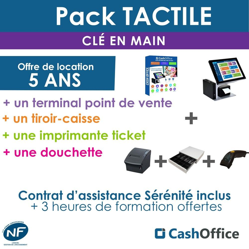 Pack Location 5 ans Cash Office Tactile - prix mensuel