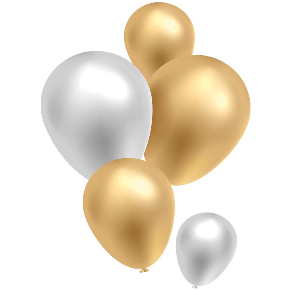 Vitrophanie petite envolée ballons or et blanc argenté - 48 x 68 cm