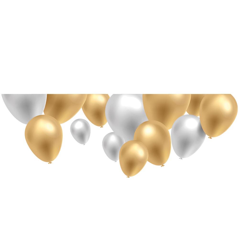 Vitrophanie frise ballons or et blanc argenté - 47,7 x 135 cm