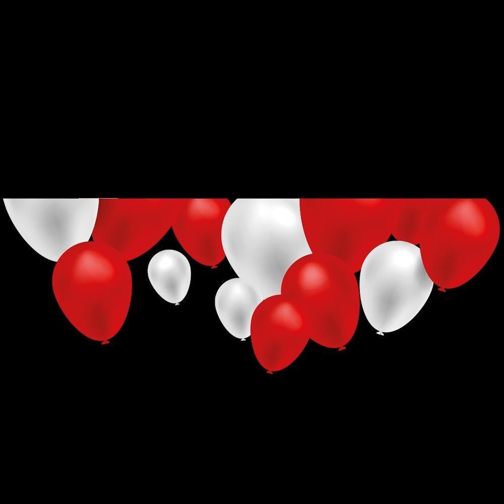 Vitrophanie petite envolée ballons rouges et blancs - 48 x 68 cm